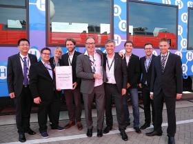 The Railway Research Group won the 1. prize in the DB Innovation Challenge 2016, picture taken at Innotrans 2016
