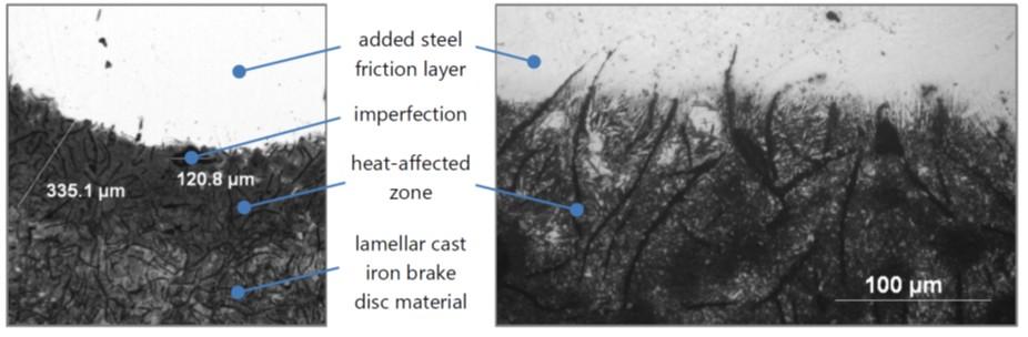 Additiv gefertigte Schicht aus verschleißfestem Stahl (oben) und lamellarem Grauguss (unten)